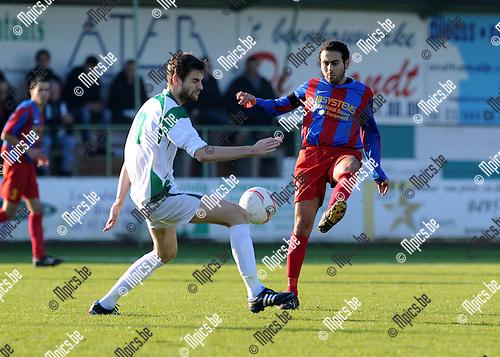 2011-11-20 / Voetbal / seizoen 2011-2012 / Ex. Kaart - Rapid Leest / Dimitri Jacobs (L, Kaart) met Elmakrini..Foto: Mpics