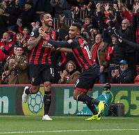 Bournemouth's Callum Wilson (left) celebrates scoring his side's first goal with team mate Junior Stanislas (right) <br /> <br /> Photographer David Horton/CameraSport<br /> <br /> The Premier League - Bournemouth v Manchester United - Saturday 3rd November 2018 - Vitality Stadium - Bournemouth<br /> <br /> World Copyright &copy; 2018 CameraSport. All rights reserved. 43 Linden Ave. Countesthorpe. Leicester. England. LE8 5PG - Tel: +44 (0) 116 277 4147 - admin@camerasport.com - www.camerasport.com