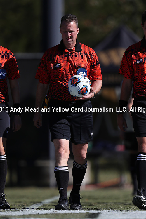 06 November 2016: Referee Mark Gorak. The Wake Forest University Demon Deacons hosted the University of Notre Dame Fighting Irish at Spry Stadium in Winston-Salem, North Carolina in a 2016 NCAA Division I Men's Soccer match and an Atlantic Coast Conference Men's Soccer Tournament quarterfinal. Wake Forest won the game 1-0.