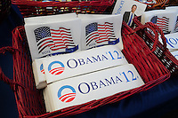 Tempe, Arizona. October 13, 2012 - A political rally held in Tempe, Arizona offered registered voters campaign materials on various candidates running in the November 6 election, including bumper stickers of presidential Democrat candidate and current US president Barack Obama. Hundreds of Arizona registered voters participated in a political rally where candidates for the US Senate, House of Representatives, state legislature, Maricopa County and other public offices pitched for votes for the upcoming general election. Photo by Eduardo Barraza © 2012
