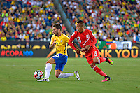 Photo during the match Brasil vs Peru, Corresponding to  Group -B- of the America Cup Centenary 2016 at Gillette Stadium.<br /> <br /> Foto durante al partido Brasil vs Peru, Correspondiente al Grupo -B- de la Copa America Centenario 2016 en el Estadio Gillette en la foto: (i-d) Lucas Lima y Cristian Cueva<br /> <br /> <br /> 12/06/2016/MEXSPORT/ISAAC ORTIZ