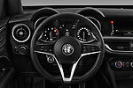 Car pictures of steering wheel view of a 2018 Alfa Romeo Stelvio Base 5 Door SUV