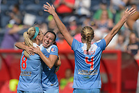 Bridgeview, IL - Saturday May 27, 2017: Julie Johnston Ertz, Vanessa DiBernardo, Alyssa Mautz during a regular season National Women's Soccer League (NWSL) match between the Chicago Red Stars and the North Carolina Courage at Toyota Park. The Red Stars won 3-2.