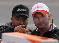 May 5, 2007; Richmond, VA, USA; DEI president Max Siegel with Nascar Nextel Cup Series driver Dale Earnhardt Jr (8) prior to the Jim Stewart 400 at Richmond International Raceway. Mandatory Credit: Mark J. Rebilas