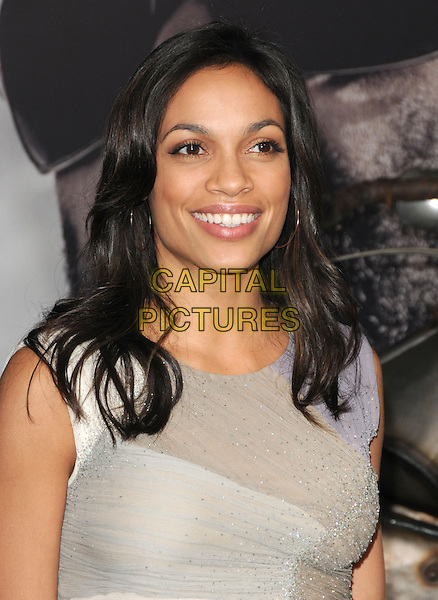 "ROSARIO DAWSON.at Alcon Entertainment's L.A. Premiere of ""The Book of Eli"" held at The Chinese Theatre in Hollywood, California, USA,  January 11th 2010..portrait headshot  grey gray cream beige beaded smiling .CAP/RKE/DVS.©DVS/RockinExposures/Capital Pictures."