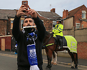 28th September 2017, Goodison Park, Liverpool, England; UEFA Europa League group stage, Everton versus Apollon Limassol; An Apollon fan takes a selfie with a police horse