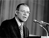 Washington, DC - July 6, 2009 -- Former United States Secretary of Defense Robert S. McNamara, Architect of Vietnam War, died in his sleep at his home in Washington in the early morning of Monday, July 6, 2009. McNamara, who served as Secretary of Defense under Presidents Kennedy and Johnson, was 93.  This file photo from September 1, 1975 pictures McNamara, as World Bank President, addressing the International Monetary Fund (IMF) meeting in Washington, D.C.  .Credit: Barry Soorenko / CNP