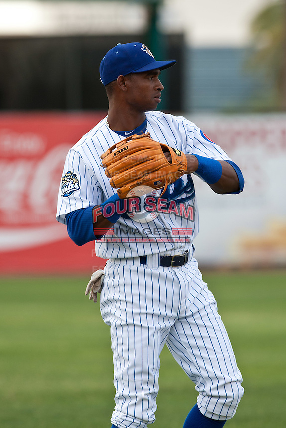 Center Fielder Elieser Bonne #6 of the Daytona Cubs before the game against the Tampa Yankees at Jackie Robinson Ballpark on April 19, 2012 in Daytona Beach, Florida. (Scott Jontes / Four Seam Images)
