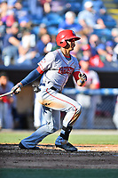 Hagerstown Suns center fielder Blake Perkins (2) swings at a pitch during a game against the  Asheville Tourists at McCormick Field on May 13, 2017 in Asheville, North Carolina. The Suns defeated the Tourists 9-5. (Tony Farlow/Four Seam Images)