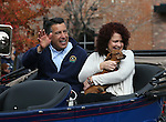 Nevada Gov. Brian Sandoval and his wife Kathleen ride in the annual Nevada Day parade in Carson City, Nev. on Saturday, Oct. 29, 2016. <br />