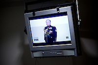 Oslo, Norway, 25.07.2011. A television broadcast in Norwegian state TV NRK shows pictures of Breivik. Foto: Christopher Olssøn.