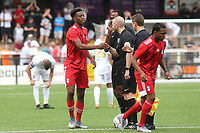 Timmy Abraham of Fulham, brother of Chelsea's Tammy, shakes hands with the referee ahead of kick-off during Bromley vs Fulham, Friendly Match Football at the H2T Group Stadium on 6th July 2019