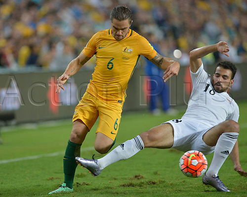 29.03.2016. Allianz Stadium, Sydney, Australia. Football 2018 World Cup Qualification match Australia versus Jordan. Australian defender Josh Risdon in action as he gets past his defender. Australia won 5-1.