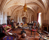 In the Arab Room the trompe l'oeil oriental architecture heightens and elongates the space and the room is furnished in neo-gothic and Indo-Portuguese style