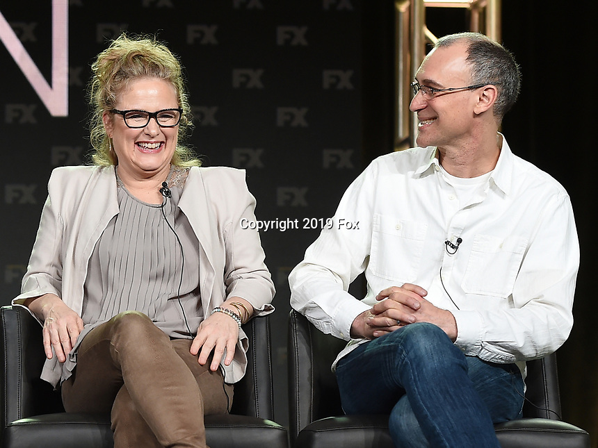 PASADENA, CA - FEBRUARY 4: (L-R) Co-EP/Key Creative Consultant Nicole Fosse and EP/Writer Joel Fields during the FOSSE / VERDON panel for the 2019 FX Networks Television Critics Association Winter Press Tour at The Langham Huntington Hotel on February 4, 2019 in Pasadena, California. (Photo by Frank Micelotta/FX/PictureGroup)