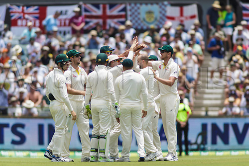 15th December 2017, The WACA, Perth, Australia; The Ashes Series, third test, day 2, Australia versus England; Australia celebrate as England player Dawid Malan is caught out by Australia sub player Peter Handscomb