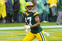 Green Bay Packers wide receiver Davante Adams (17) during a National Football League game against the New Orleans Saints on October 22, 2017 at Lambeau Field in Green Bay, Wisconsin.  New Orleans defeated Green Bay 26-17. (Brad Krause/Krause Sports Photography)