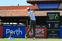 Sebastian Heisele (GER) in action on the 1st during Round 1 of the ISPS Handa World Super 6 Perth at Lake Karrinyup Country Club on the Thursday 8th February 2018.<br /> Picture:  Thos Caffrey / www.golffile.ie<br /> <br /> All photo usage must carry mandatory copyright credit (&copy; Golffile | Thos Caffrey)