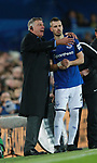 Sam Allardyce manager of Everton gives instructions to Morgan Schneiderlin of Everton as he come-on as substitute during the premier league match at the Goodison Park Stadium, Liverpool. Picture date 2nd December 2017. Picture credit should read: Simon Bellis/Sportimage