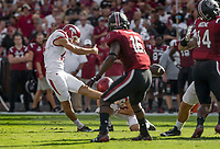 Hawgs Illustrated/BEN GOFF <br /> Connor Limpert, Arkansas kicker, makes a field goal in the first quarter against South Carolina Saturday, Oct. 7, 2017, during the game at Williams-Brice Stadium in Columbia, S.C.