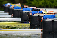 Lucerne, SWITZERLAND<br /> One yellow Boat.<br /> 2016 European Olympic Qualifying Regatta, Lake Rotsee.<br /> <br /> Sunday  22/05/2016<br /> <br /> [Mandatory Credit; Peter SPURRIER/Intersport-images]