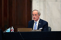United States Senator Tom Carper (Democrat of Delaware) speaks during a U.S. Senate Committee on Homeland Security and Governmental Affairs meeting in the Senate Russell Office Building in Washington D.C., U.S., on Wednesday, May 20, 2020, to consider a motion to issue a subpoena to Blue Star Strategies.  Credit: Stefani Reynolds / CNP/AdMedia