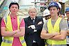 Boris Johnson <br /> The Mayor of London <br /> visits the Westfield Stratford Shopping development in Stratford, London, Great Britain <br /> 4th July 2011 <br /> Press Conference <br /> <br /> Boris Johnson <br /> with local apprentices<br /> apprentices L to R <br /> Ryan Marley <br /> Rob Taylor<br /> <br /> <br /> <br /> Photograph by Elliott Franks