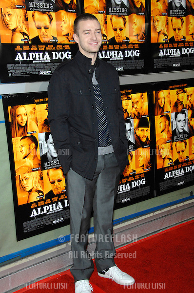 "JUSTIN TIMBERLAKE at the world premiere of his new movie ""Alpha Dog"" at the Arclight Theatre, Hollywood..January 3, 2007  Los Angeles, CA.Picture: Paul Smith / Featureflash"