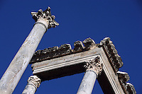 Columns and Capitals (Detail); Scenae frons built in 105 AD and restored between 333 and 335 AD; Roman Theatre, built in 16 - 15 BC, promoted by Marcus Vipsanius Agrippa (63 BC-12 BC), Merida (Augusta Emerita, Capital of Hispania Ulterior), Extremadura, Spain
