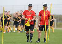 20180304 - LARNACA , CYPRUS :  Belgian head coach Ives Serneels (left) pictured with Belgian doctor Kris Vanderlinden during a Matchday -1 training from The Belgian Red Flames prior to their game against Austria , on Sunday 4 March 2018 at the Alpha Sports Grounds in Larnaca , Cyprus . This will be the third game in group B for Belgium during the Cyprus Womens Cup , a prestigious women soccer tournament as a preparation on the World Cup 2019 qualification duels. PHOTO SPORTPIX.BE | DAVID CATRY