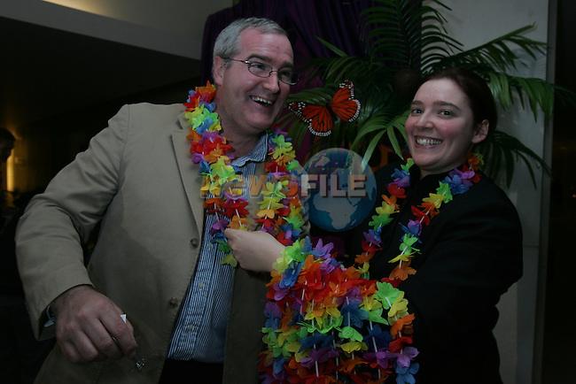 Dermot Sourin getting into the swing of the Hawaiian dancing at the Drogheda Chamber D Hotel Hawaiian Tropical Night networking event..Photo: Fran Caffrey/ Newsfile.