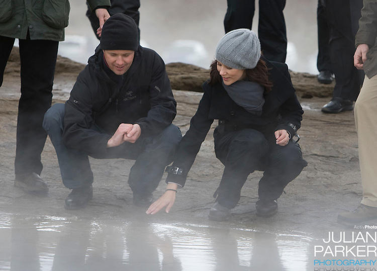 Crown Prince Frederick and Crown Princess Mary of Denmark on a four day official visit to Iceland, visit the Geysir area, near The Gullfoss waterfall, in Iceland
