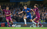 Andreas Christensen of Chelsea holds off Leroy Sane of Manchester City & Gabriel Jesus of Manchester City during the EPL Premier League match between Chelsea and Manchester City at Stamford Bridge, London, England on 30 September 2017. Photo by Andy Rowland.