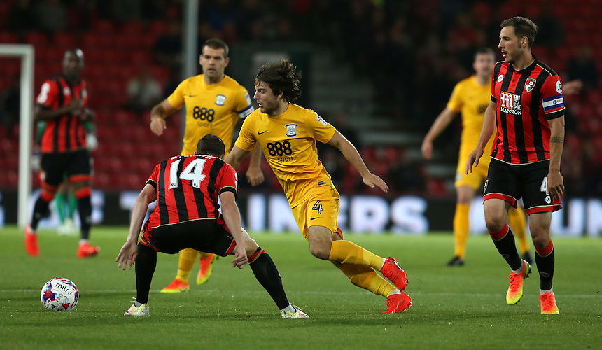 Preston North End's Ben Pearson and Bournemouth's Brad Smith<br /> <br /> Photographer Stephen White/CameraSport<br /> <br /> The EFL Cup Third Round - Bournemouth v Preston North End - Tuesday 20 September 2016 - Vitality Stadium - Bournemouth<br />  <br /> World Copyright &copy; 2016 CameraSport. All rights reserved. 43 Linden Ave. Countesthorpe. Leicester. England. LE8 5PG - Tel: +44 (0) 116 277 4147 - admin@camerasport.com - www.camerasport.comLIVERPOOL, ENGLAND - SEPTEMBER 17: during the Premier League match between Everton and Middlesbrough at Goodison Park on September 17, 2016 in Liverpool, England. (Photo by Rich Linley/CameraSport via Getty Images)<br /> <br /> <br /> <br /> Photographer Stephen White/CameraSport<br /> <br /> The EFL Cup Third Round - Bournemouth v Preston North End - Tuesday 20 September 2016 - Vitality Stadium - Bournemouth<br />  <br /> World Copyright &copy; 2016 CameraSport. All rights reserved. 43 Linden Ave. Countesthorpe. Leicester. England. LE8 5PG - Tel: +44 (0) 116 277 4147 - admin@camerasport.com - www.camerasport.com