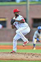 Greeneville Reds pitcher Francis Jones (40) delivers a pitch during a game against the Bluefield Blue Jays at Pioneer Park on June 30, 2018 in Greeneville, Tennessee. The Blue Jays defeated the Red 7-3. (Tony Farlow/Four Seam Images)