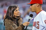 29 September 2009: Washington Nationals broadcaster for MASN Debbi Taylor interviews Ian Desmond after a game against the New York Mets at Nationals Park in Washington, DC. The Nationals rallied to defeat the Mets 4-3 in the second game of their final 3-game home series. Mandatory Credit: Ed Wolfstein Photo