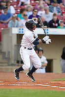 Cedar Rapids Kernels shortstop Jorge Polanco #5 bats during a game against the Kane County Cougars at Veterans Memorial Stadium on June 8, 2013 in Cedar Rapids, Iowa. (Brace Hemmelgarn/Four Seam Images)