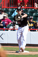 Erie SeaWolves first baseman Aaron Westlake (24) catches a throw during a game against the Akron RubberDucks on May 18, 2014 at Jerry Uht Park in Erie, Pennsylvania.  Akron defeated Erie 2-1.  (Mike Janes/Four Seam Images)
