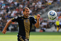 Alejandro Moreno (15) of the Philadelphia Union. The Philadelphia Union and the New England Revolution  played to a 1-1 tie during a Major League Soccer (MLS) match at PPL Park in Chester, PA, on July 31, 2010.