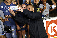 Cary, North Carolina  - Saturday August 05, 2017: Merritt Mathias takes a selfie with fans after a regular season National Women's Soccer League (NWSL) match between the North Carolina Courage and the Seattle Reign FC at Sahlen's Stadium at WakeMed Soccer Park. The Courage won the game 1-0.