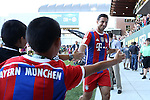 06 August 2014: Bayern Munich's Claudio Pizarro (PER) (right) with some young fans. The Major League Soccer All-Stars played Bayern Munich of the German Bundesliga at Providence Park in Portland, Oregon in the 2014 MLS All-Star Game. The MLS All-Stars won the game 2-1.