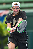 11th January 2018,  Kooyong Lawn Tennis Club, Kooyong, Melbourne, Australia; Priceline Pharmacy Kooyong Classic tennis tournament; Lucas Pouille of France returns a backhand against Andrey Rublev of Russia