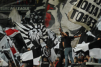 Fans von Eintracht Frankfurt mit ihren Fahnen - 24.10.2019:  Eintracht Frankfurt vs. Standard Lüttich, UEFA Europa League, Gruppenphase, Commerzbank Arena<br /> DISCLAIMER: DFL regulations prohibit any use of photographs as image sequences and/or quasi-video.