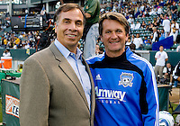 Head coaches of LA Galaxy Bruce Arena (l) and San Jose Earthquakes Frank Yallop (r) before the match. The LA Galaxy and the San Jose Earthquakes played to a 2-2 draw at Home Depot Center stadium in Carson, California on Thursday July 22, 2010.
