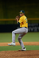 AZL Athletics Gold relief pitcher Charles Hall (37) during an Arizona League game against the AZL Cubs 1 at Sloan Park on June 20, 2019 in Mesa, Arizona. AZL Athletics Gold defeated AZL Cubs 1 21-3. (Zachary Lucy/Four Seam Images)