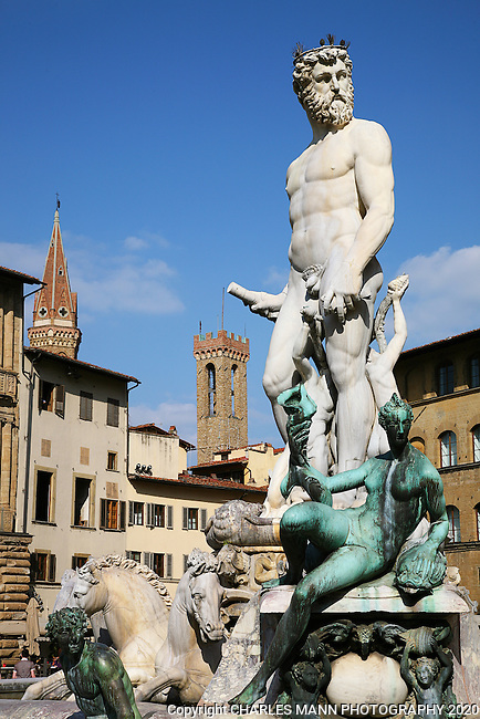 The Fountain of Neptune in the Piazza Signoria near the Palacio Vecchio is one of the most recognizable images in Florence.