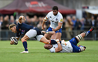 Matt Garvey of Bath Rugby makes a last ditch tackle on Duhan van der Merwe of Edinburgh Rugby. Pre-season friendly match, between Edinburgh Rugby and Bath Rugby on August 17, 2018 at Meggetland Sports Complex in Edinburgh, Scotland. Photo by: Patrick Khachfe / Onside Images