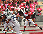 Lindenwood University - Belleville QB Anthony Dorsey (7, right) looks for a receiver during their Homecoming Game against the Menlo College Oaks.