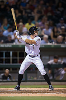 Adam Engel (7) of the Charlotte Knights at bat against the Indianapolis Indians at BB&T BallPark on June 16, 2017 in Charlotte, North Carolina.  The Knights defeated the Indians 12-4.  (Brian Westerholt/Four Seam Images)