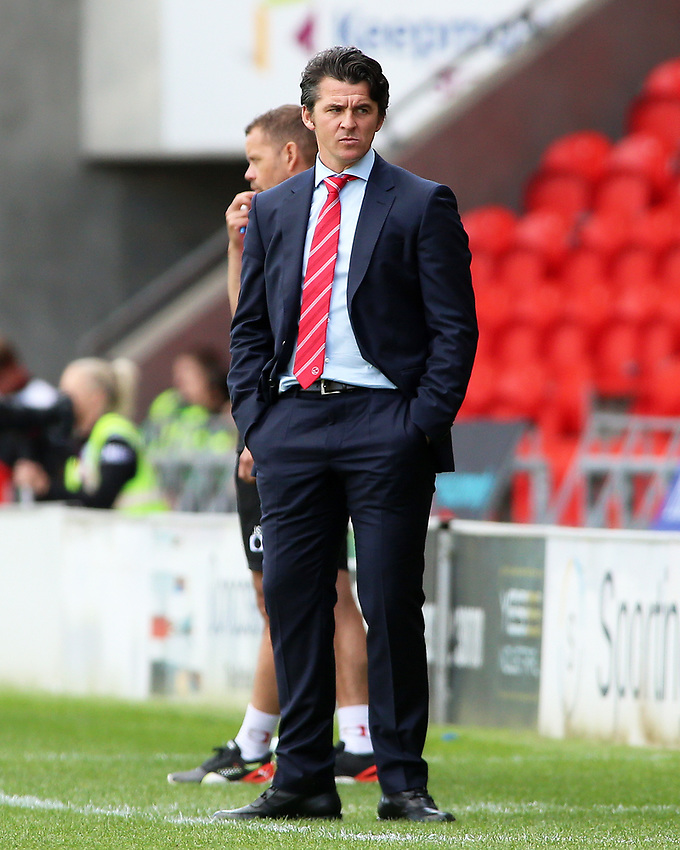 Fleetwood Town manager Joey Barton cuts a dejected figure on the touchline<br /> <br /> Photographer David Shipman/CameraSport<br /> <br /> The EFL Sky Bet League One - Doncaster Rovers v Fleetwood Town - Saturday 17th August 2019  - Keepmoat Stadium - Doncaster<br /> <br /> World Copyright © 2019 CameraSport. All rights reserved. 43 Linden Ave. Countesthorpe. Leicester. England. LE8 5PG - Tel: +44 (0) 116 277 4147 - admin@camerasport.com - www.camerasport.com